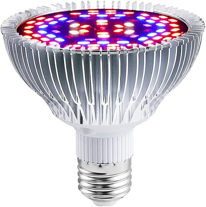 Lámparas de Crecimiento 50W,E27 Bombilla LED de Cultivo de Espectro Completo Para Plantas,Lámpara de Cultivo Para Plantas de Interior Vegetales y Flores Hidroponía