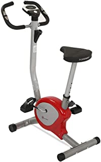 PowerMax Fitness Unisex Adult BU-200 Upright Bike/exercise Bike For Home Gym - Maroon/Grey, Compact