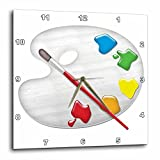 3dRose Painters Palette with Paint Brush Illustration Wall Clock, 10x10