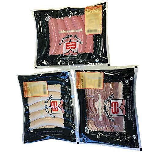 Embutidos Bernal - Lote de Salchichas Cervela, Bratwurst (7 de cada) y Bacon Cortado para Plancha. Salchichas Alemanas Cocidas - Fabricadas con Tripa Natural - Productos Elaborados en Aragón