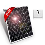 DOKIO 50 Watts 12 Volts Monocrystalline Solar Panel Portable,for 12 Volts Battery Charging, Boat, Caravans, RV,Camping