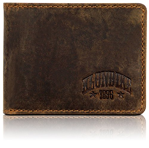 Klondike 1896 Mini cartera de cuero auténtico 'Noah' en formato horizontal, elegante monedero de cuero, marrón