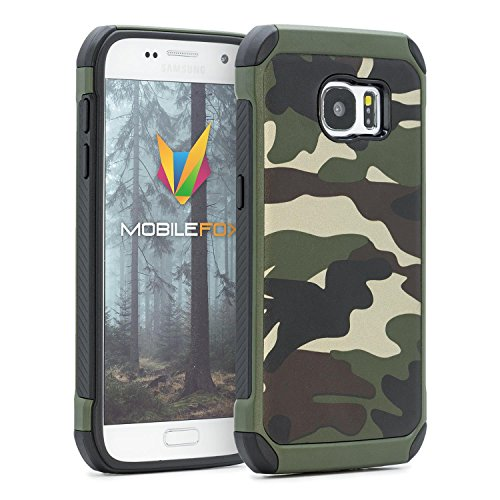 Mobilefox Camouflage Handy Schutzhülle Outdoor Hülle Army Cover für Samsung Galaxy S7 Grün