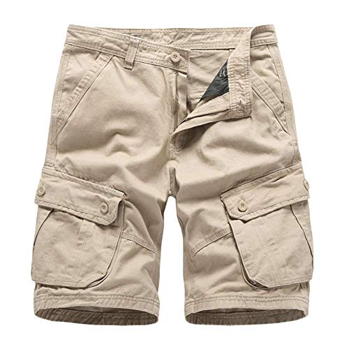 Huaheng Fashion Mens Casual katoenen Cargo Shorts Solid Beach korte broek voor de zomer 34 kaki