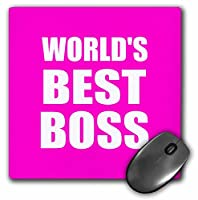 """3drose Worlds Greatest Bossマウスパッド、最高のボスホワイトテキストのホットピンク、8"""" x 8"""" ( MP _ 194443_ 1)"""