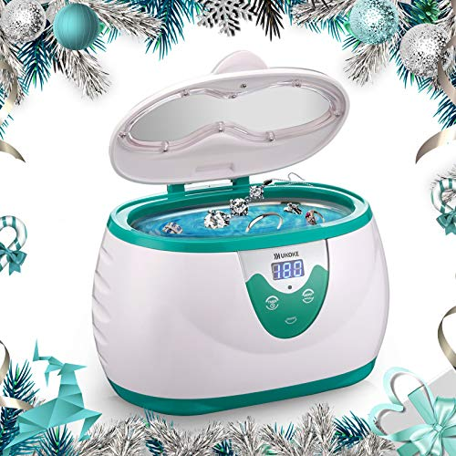 Ukoke, UUC06S, Ultrasonic Cleaner, Professional Ultrasonic Jewelry Cleaner with Timer, Portable Household Ultrasonic Cleaning Machine, Eyeglasses Denture Cleaner, 0.6L, Sliver