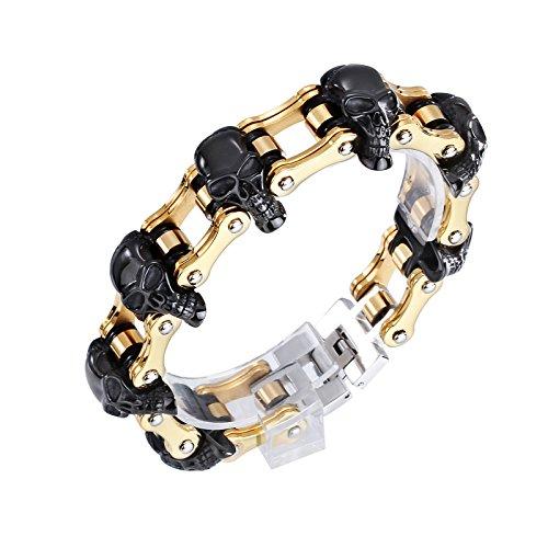 LAMUCH past voor heren roestvrij staal zwart schedel kop goud fiets ketting verbindingsarmband