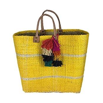 Mar Y Sol Belo Sisal Market Tote Straw Beach Bag w Tassels  Sunflower Yellow