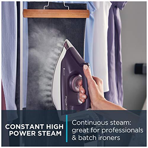 Rowenta DG8520 Perfect Steam 1800-Watt Eco Energy Steam Iron Station Stainless Steel Soleplate, 400-Hole, Purple