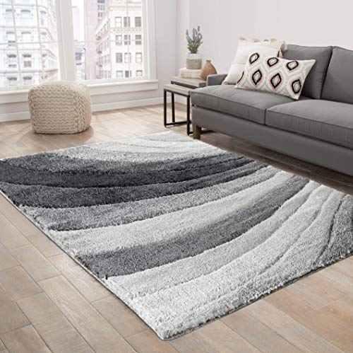 Serdim Rugs Moderner zotteliger Teppich mit weichem Wellen-Design, Polyester, Grau, 160 x 230 cm