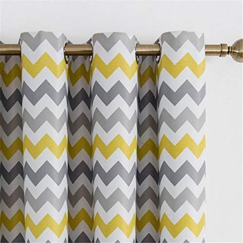 Cortinas geométricas amarillas y grises para sala y dormitorio 100x200 cm