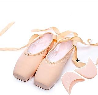 Zapatillas de Ballet de Punta Zapatos Satén con Puntera de Gel de Silicona y Cintas para Niñas (por Favor Seleccione una T...