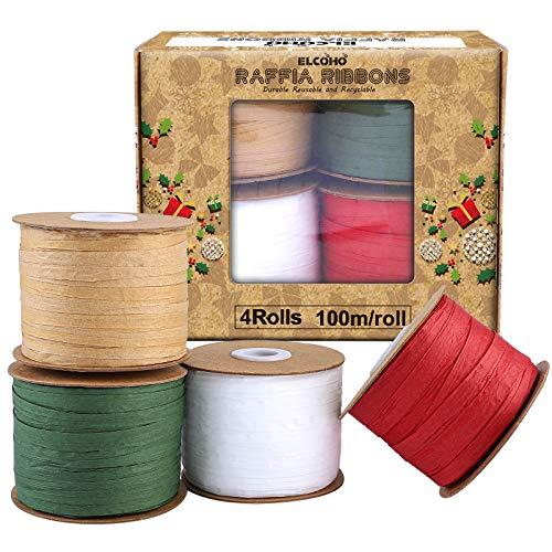 Elcoho 437 Yard Raffia Christmas Ribbons Christmas Wrapping Raffia String Raffia Paper Matte Twine for Christmas Gifts, Craft DIY, 4 Rolls