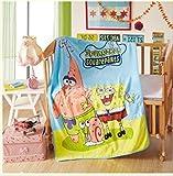 xiaomomo521 Kinder Cartoon Korallendecke, Babydecke, Nickerchen Decke 180 x 200cm Spongebob Squarepants