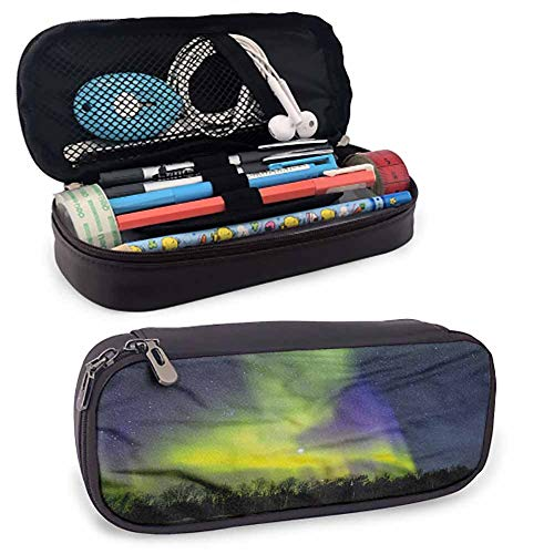 Alaska Pen Pencil Stationery Pouch Bag Case, Aurora Borealis Forest for Pen, Pencil, Samsung, Huawei, Pen Accessories, USB Cable, Earphone, Fountain Pen 8'x3.5'x1.5'
