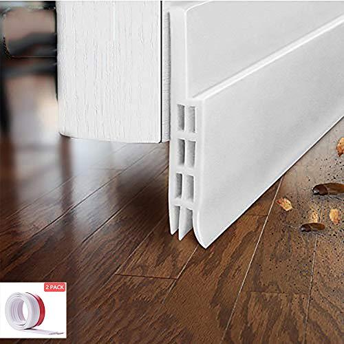 EVILTO 2 Stück Zugluftstopper mit Dichtung – selbstklebend unter der Tür, Kälteschutz, Anti-Bruit, Insektenschutz (2 PSC, weiß)