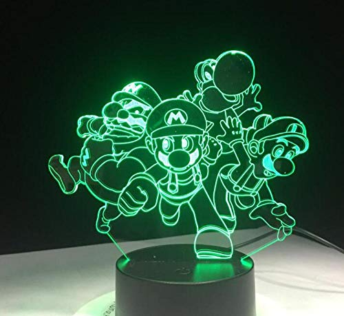 KINGBENG Personaggio dei cartoni animati classico Fratello Ji Toad Dragon Light Acrilico Luce natalizia Regalo regalo giocattolo 16 colori Luce notturna 3D Illusione di luce Luce notturna Luce visiva