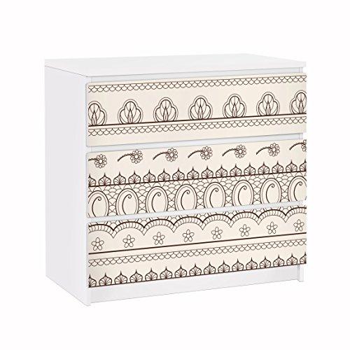 Apalis Möbelfolie für IKEA Malm Kommode Klebefolie Indisches Rapportmuster 3X 20 x 80cm