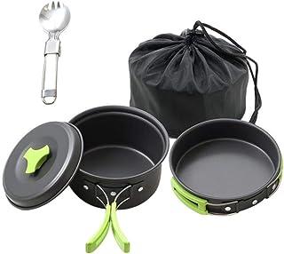 LALLing 3 Unids/Set Juego de Utensilios de Cocina para Camping Ollas de aleación de Aluminio livianas Recipiente para cocinar al Aire Libre Olla Pan Juego de Malla Bolsa Vajilla