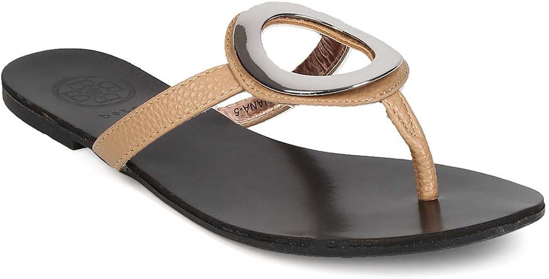 BETANI EH64 Women Leatherette Thong Strap Looped Slip On Sandal - Beige