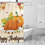 GABRI Happy Thanksgiving Fest Szene Kürbis Türkei Mais Duschvorhang Set für Home Polyester wasserdicht Stoff Badezimmer mit Haken 36x72 inch