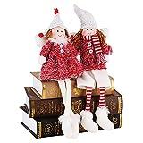 Valery Madelyn Decorazioni Natalizie con Angioletti Set di 2, 6 Pollici / 16 cm Stoffa Rossa e Bianca Seduta Gemelle Ragazze Feltro Natalizio Figurine di Angelo Ornamenti Decorazioni