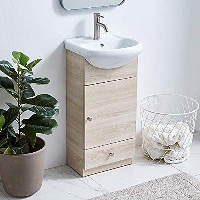 Modern Bathroom Vanity Set Small Bathroom Vanity,Bath Vanity with Sink Single Bathroom Vanity Cabinet with Ceramic Sink,Bathroom Vanity and Sink Combo,17.7 Inch,1 Door 1 Drawer,Gray Wood Grain
