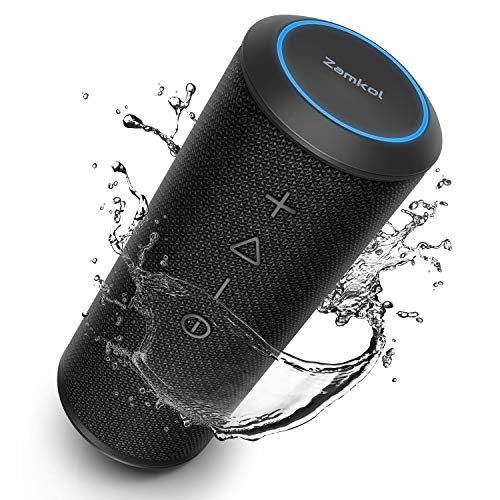 Zamkol Altoparlante Bluetooth Portatile 5200mAh, 24W Cassa Wireless Speaker, IPX6 Bass Stereo Speaker, Bluetooth & AUX & TWS connection, Dual Driver, Microfono incorporato, per Indoor, outdoor, travel