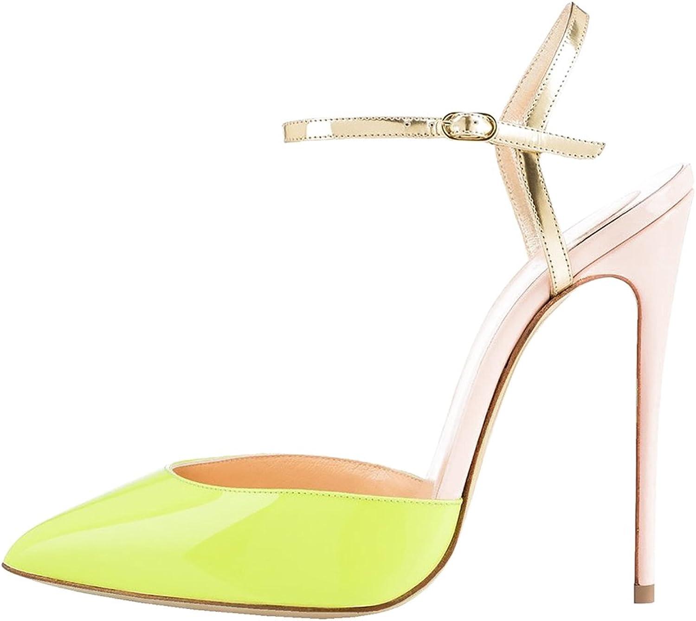 Calaier Womens Cadumpling Pointed Toe 12CM Stiletto Slip on Sandals shoes