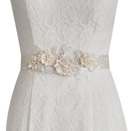 TOPQUEEN Strass und Perle Gürtel für Hochzeit Schärpe Blumenmädchen Schärpe Besondere Anlässe Kleider sein Schärpe für Brautkleid (Nicht-gerade weiss)