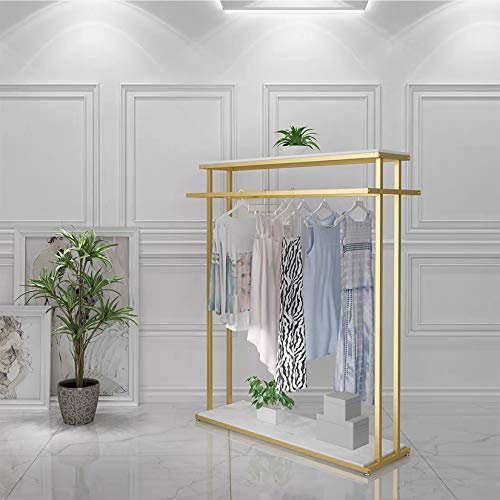MDEPYCO Clothing Store Rolling Garment Rack with WheelCommercial Grade Nakajima Clothes Display RackFloor-Standing Double Hanging Rods Hangers Clothes Shelves Gold with Wooden Boards  472 L