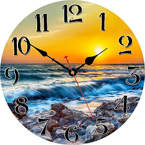 WISKALON Reloj De Pared Vintage Movimiento De Cuarzo Relojes De Pared Silenciosos...