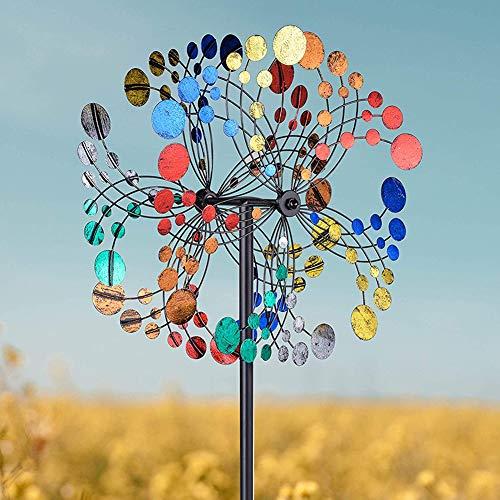 Viento de metal Spinner, escultura espiral del jardín del metal del viento del molino de viento Spinner ornamento Flor del viento Spinner decoración del jardín del molino de viento multicolor Noche