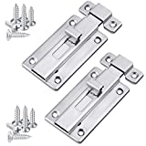 Ruisita 2 Pack Stainless Steel Door Latches Door Bolts Sliding Bolts Surface Mounted Slide Bolt for Indoor and Outdoor, 3 Inches