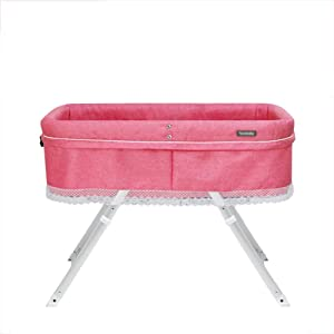 XJJUN-Rocking crib Moses Foldable Travel Easy Carry Mosquito Net Handbag Aluminum Alloy Stable Durable 5 Colors  Styles  Color Pink-A  Size 94X56X64-65CM