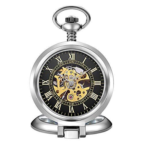 LXDDP Reloj de Bolsillo, Collar, Arpa Musical, Caja de Plata Vintage, Esqueleto, Reloj mecánico, Colgante, Collar, Regalos, Reloj de Bolsillo