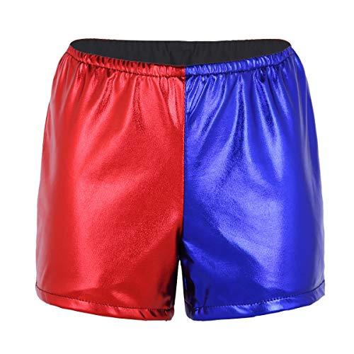 IEFIEL Femme String Slip Danse Bikini sans Couture sous-vêtement Métallique Élastique Culottes Shorties Bleu Rouge Lingerie Bleu Rouge 2 Medium