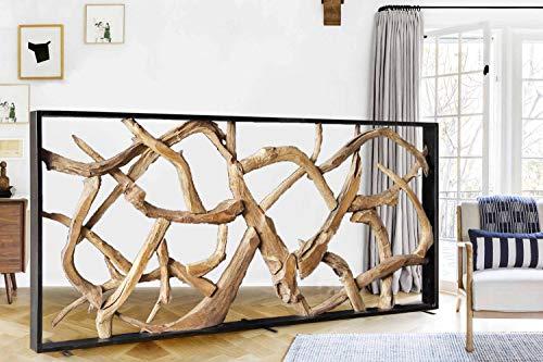 Möbel Bressmer Designer Teak Wurzel Sichtschutz Maze 220 cm x 100 cm | Hochwertiger Raumteiler in Holzoptik massiv |Paravent Trennwand Wohnzimmer Praxis Büro
