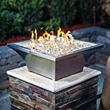 BBQGUYS Signature Series Lavelle 18-Inch Square High-Rise Propane Column Fire Bowl - Stainless Steel (Ships as Natural Gas w/Conversion Kit)