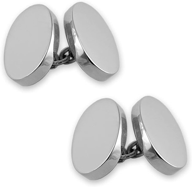 Sterling silver heavyweight double-sided oval cufflinks