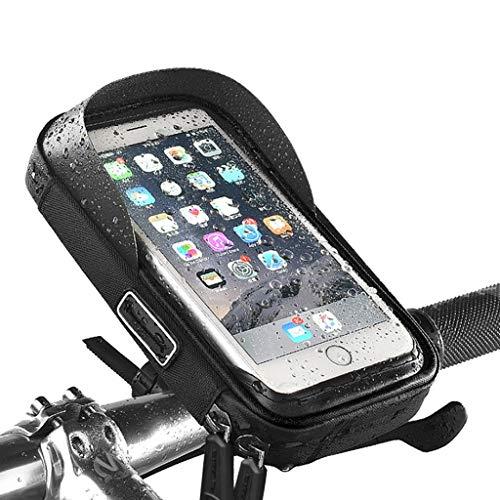 HJSW Bolsa Bicicleta Montaña Cuadro Impermeable, Soporte Manillar Móvil Bicicletas Accesorios Mochila Bicletas Frame Bag para iPhone 12/11/Max/Mini/Pro/XS Max/XR/X/7/8 Plus, 4.0''~6.4'' Teléfono