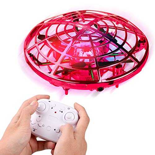 Mini Drone for Kids and Adults, LANIAKEA Easy Flying Toys Hand Operated Mini Drone with 360°Rotating, Hand Controlled Toy Gifts for Boys and Girls Indoor Outdoor Activities (Red)