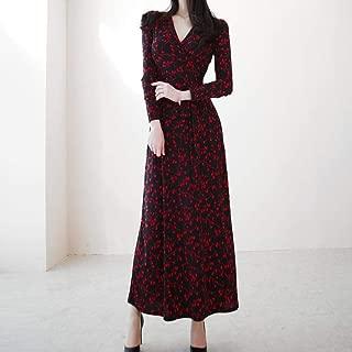 ABDKJAHSDK High Quality V-Neck Long Sleeve Waist Waist Cherry Print Pointed Woman Long Dress