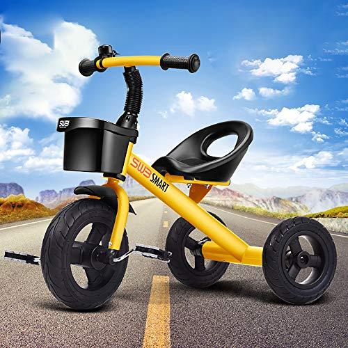LRQHHZYQ Infantil 3 Ruedas Pedal Trike, Triciclos Bebes 1 año, Frontal Cesta -Asiento Regulable-Estructura Tubular de Metal - para Edades 1-5 Años, Yellow