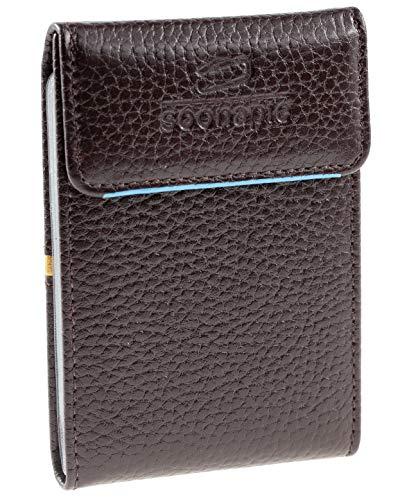 Kleines Kreditkartenetui aus Leder blockiert RFID und NFC-Schutz Scheckkartenetui Visitenkartenetui Kartenetui für 12 Karten Kartenmäppchen Kreditkartenmäppchen 10x7x3cm schmaler Geldbeutel (Braun)