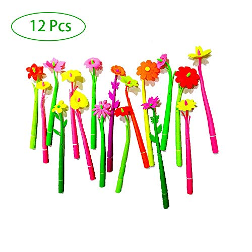Kugelschreiber Neuheit Flower (12 Stücke) zufällige farbe zufällige blume 0,38mm schwarz kugelschreiber gel ink pen schulkinder student geschenk bürobedarf kugelschreiber