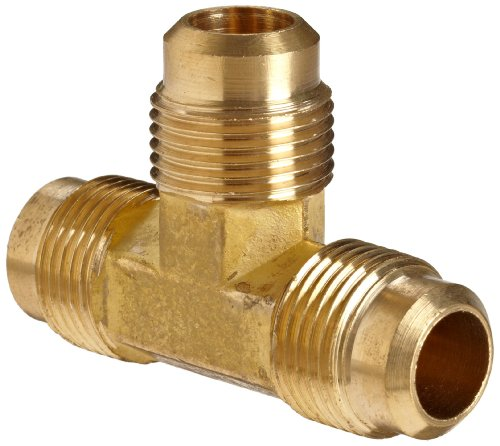 Anderson Metals Brass Tube Fitting, Flare Tee, 1/2 x 1/2 x 1/2 Flare,54044-08