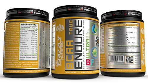 Grizzly Nutrition True Endure -Bcaa 4:1:1 Pro Ratio (v6 genesis/6th gen2021) 300 grams upto 60 servings, 12+ vitality boosters, Energy+ prebooster 75 servings - Platinum grade (Spanish Strawberry)