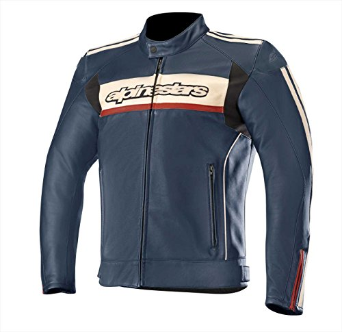 Alpinestars Chaqueta moto Dyno V2 Leather Jacket Navy Stone Red, Azul/Blanco/Rojo, 48