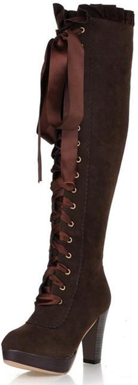 IDIFU Women's Fashion Platform High Block Heels Lace Up Faux Suede Knee High Boots Riding Booties